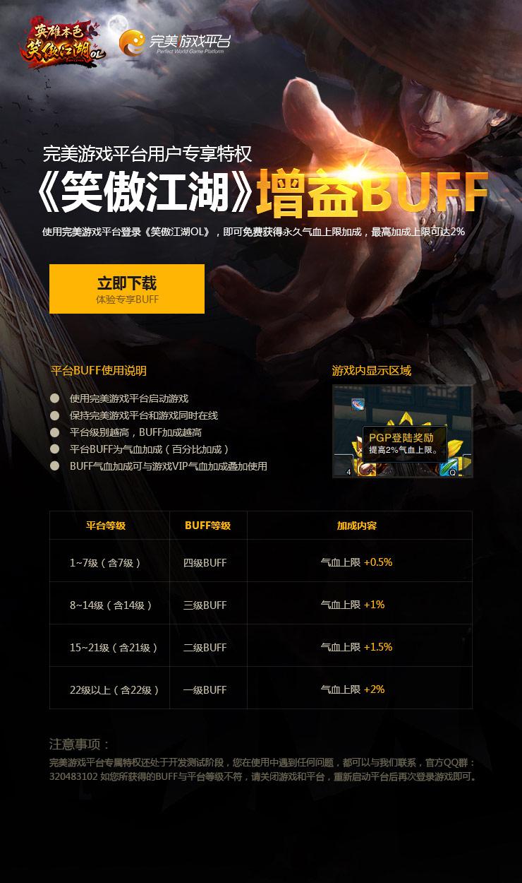 使用完美游戏平台登录《笑傲江湖OL》,即可享受平台专属BUFF增益,资质加成最高可达2%!